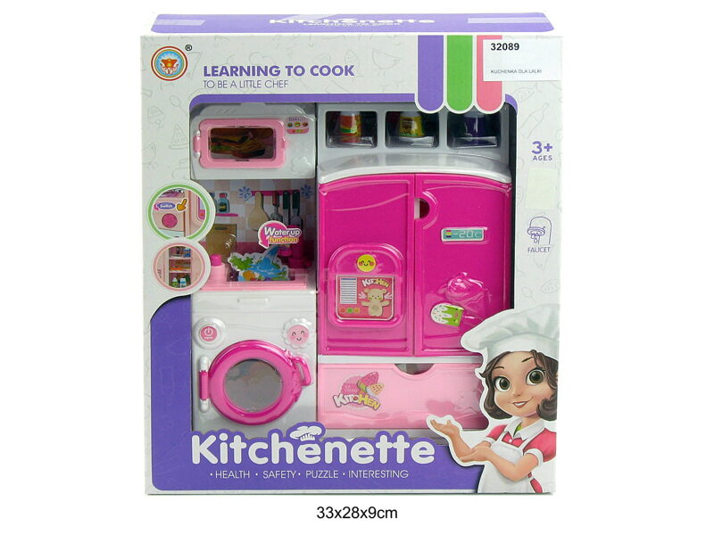 Leļļu virtuve KITCHENETE Learn to Cooc ar viruvīti, veļas mašīnu un mikroviļņu krāsni