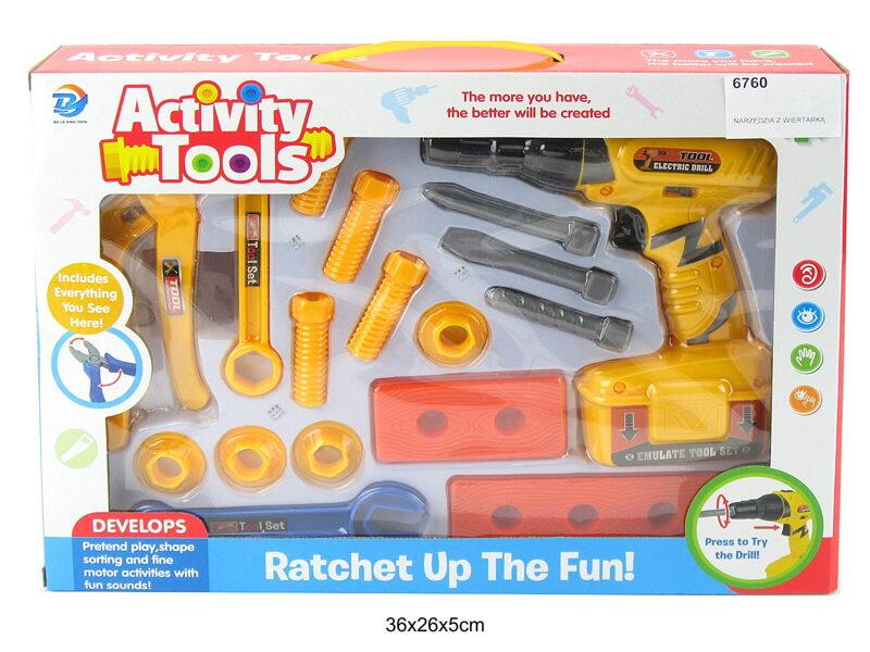 Spēļu instrumentu komplekts ACTIVITY TOOLS ar skrūvēm un spēļu urbi