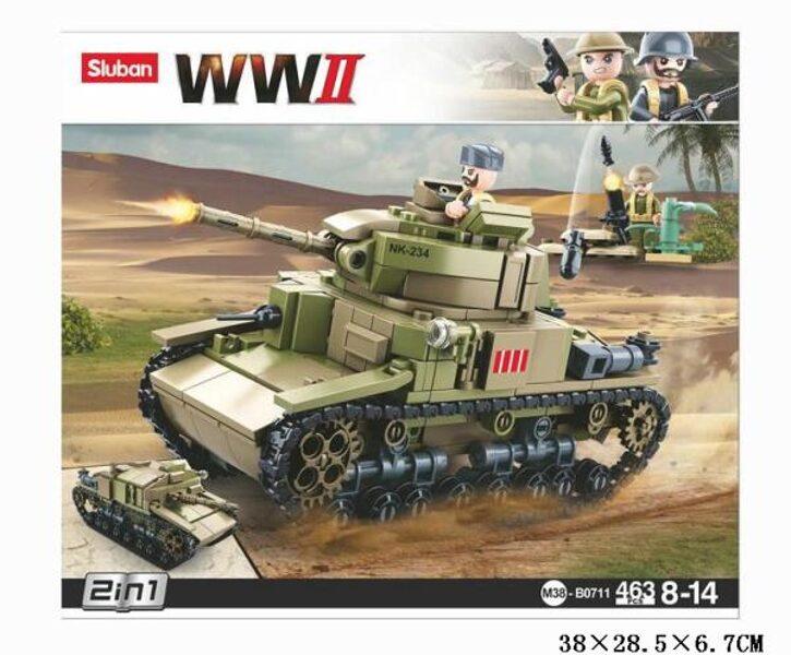 SLUBAN lego WW2 armijas tanks, 663 elementi