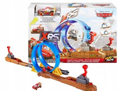 Mattel Disney Cars Crash Challenge auto trase MUD RACING XRS RACING SERIES, kompelktā Lightening McQUEEN