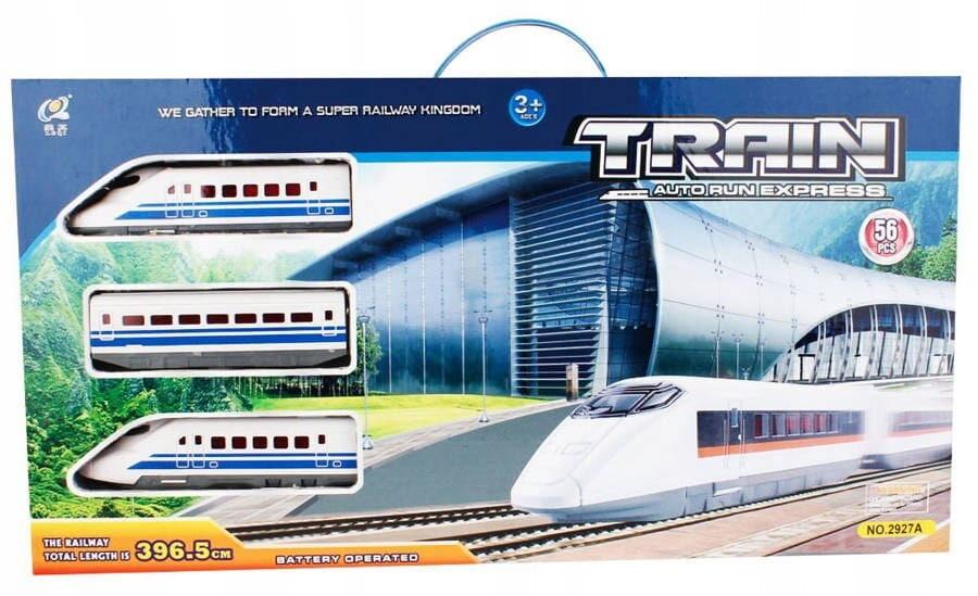 Vilciens TRAIN AUTO RUN EXPRESS Playme, 56 elementi, 396,5 cm garš, darbojas ar baterejām